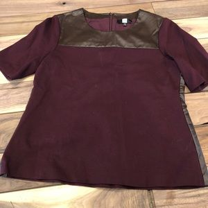 Saks Fifth Avenue Scoop Neck faux leather top 12